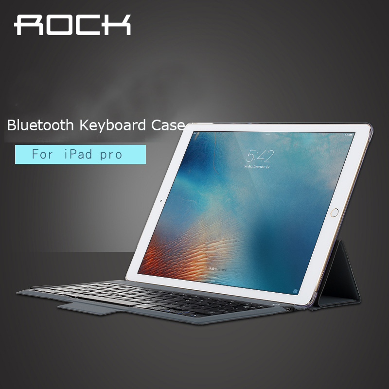 "For apple ipad pro 12.9 "" Bluetooth Keyboard leather case ROCK pu leather Cover Protective Bluetooth Keyboard Case for ipad pro(China (Mainland))"