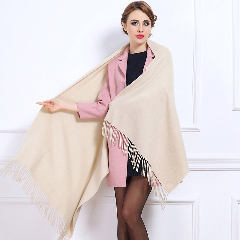 2015 New style winter 100% cashmere pashmina scarf women solid and tassel warm hot sale large and thick 70cm*200cm(China (Mainland))
