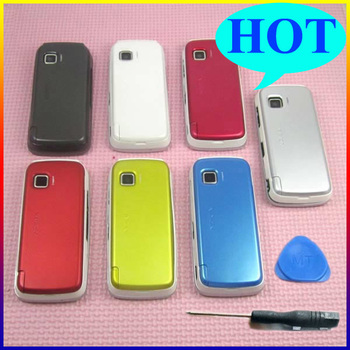 2set/lot White/Red/Yellow/Black/Blue/Silvery 100% brand new Full Cover Case Housing with Keypad For Nokia 5230 + tool free ship