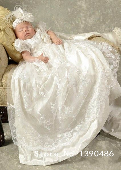 Vintage Lace Baby Girl Christening Gowns Puffy Sleeves Silk Baptism Dresses Vestido Bebe Menina 1 Year Birthday Dress KV-93 - Kevin's Boutique store
