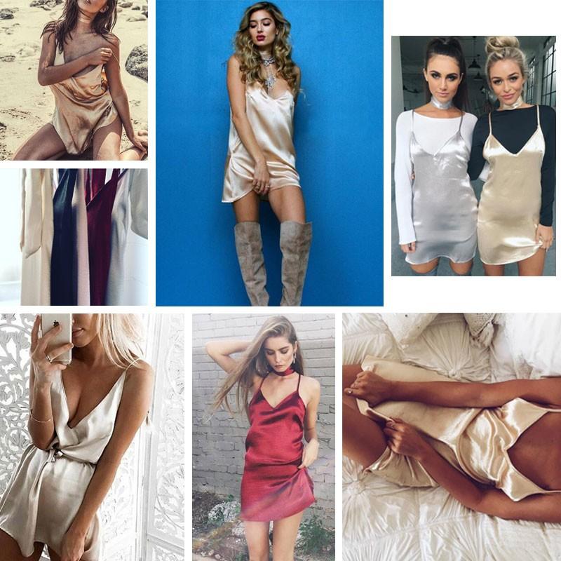 2016 Nova Moda Sexy V Neck Satin Deslizamento Vestido de Verão Sem Mangas Mini Halter vestido de Noite Bodycon Club Wear Vestidos de Festa Femininos