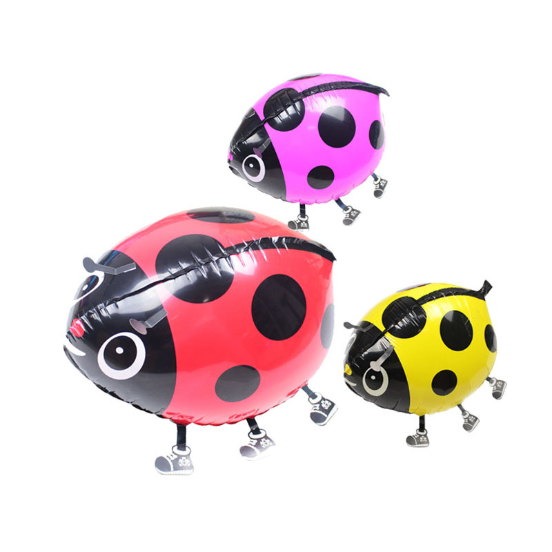10pcs/Lot Free Shipping Ladybird/Ladybug Beatles Pet Walking Animals Hulium Mylar Balloons Toy Gift. Party Decoration. Red.(China (Mainland))