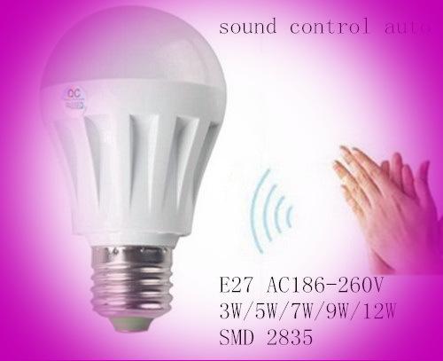 Free shipping E27 3W 5W 7W 10W 15w motion sensor lamp led e27 bulb sound and light control auto E27warm white/white spotlight(China (Mainland))