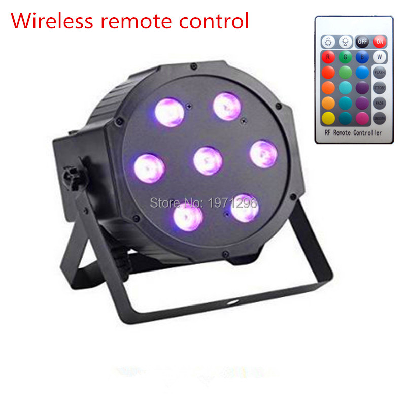 The wireless remote control Super Magic RGB 7X9W LED Effect Stage Light Projector DMX512 Flat PAR Can Lights(China (Mainland))