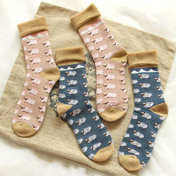 Японские женщины каваи тепловой махровые носки симпатичные женская овец мультфильм трубке носки розовый хлопок толстый теплый носок