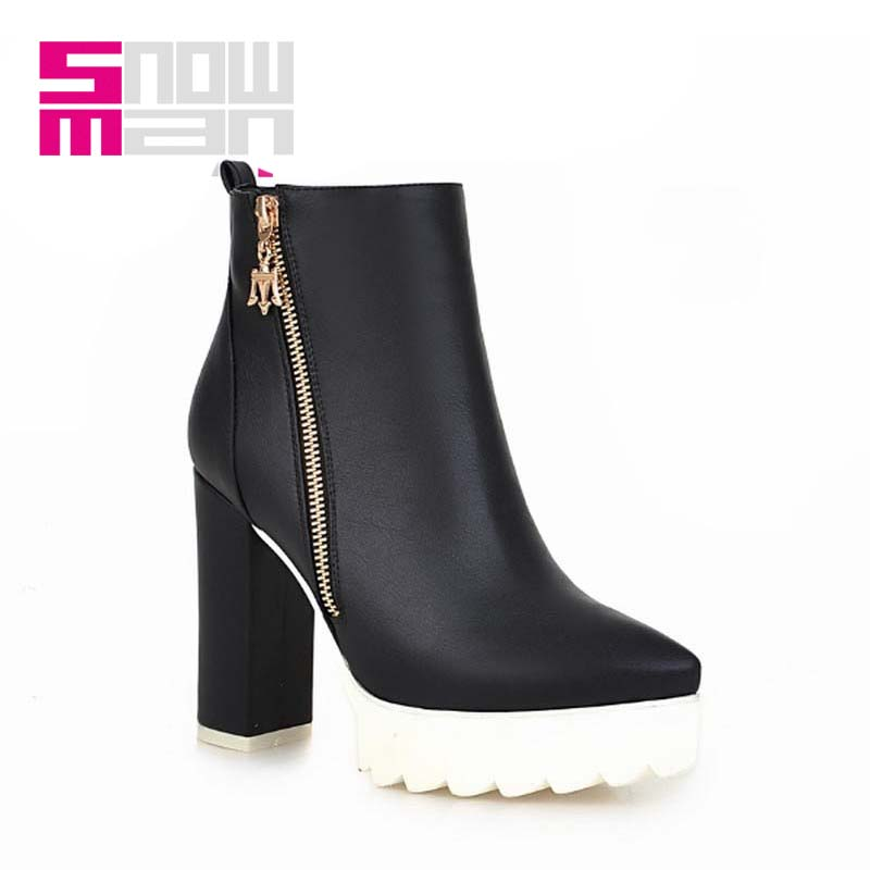 High Quality Spring Winter Boots Women's Shoes Women Boots Zipper Pointed toe Ankle Boots Thick High Heels Platform Shoes Woman