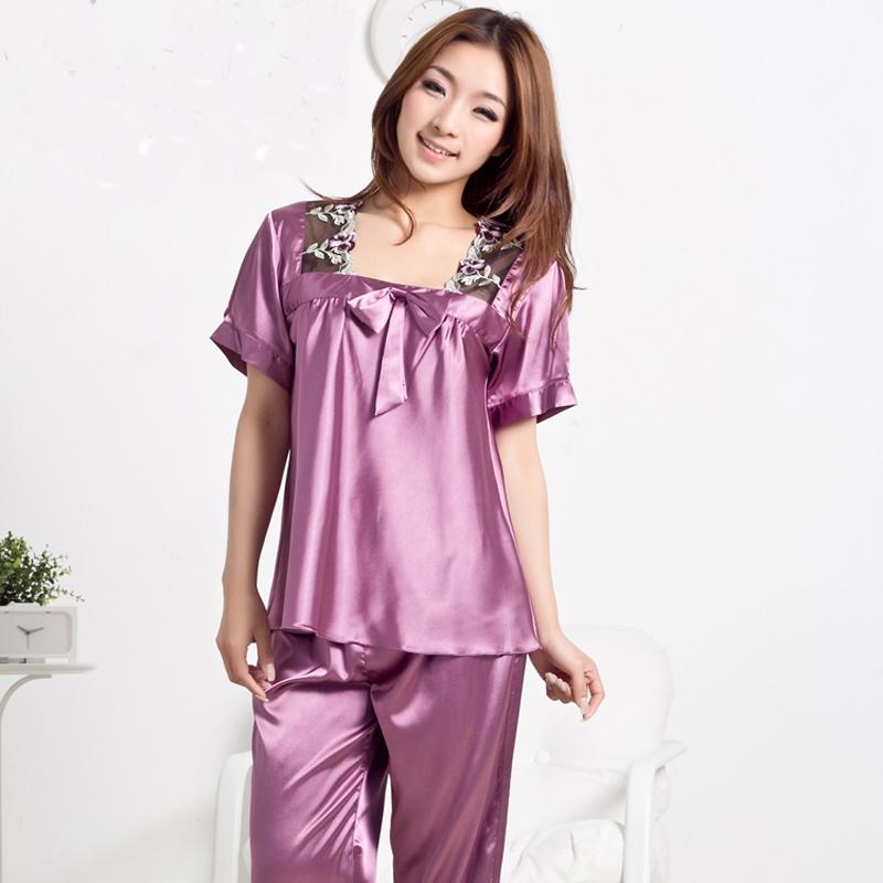 Women imitated silk lace suqare collar bow nightgown pajamas sets, girl lady red purple green pink pyjamas L-XXXL 2182(China (Mainland))