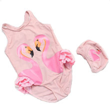 Милый детский купальный костюм с фламинго, попугаем, лебедем, летний купальный костюм для девочек цельный купальный костюм, maillot de bain bebe fille ...(China)