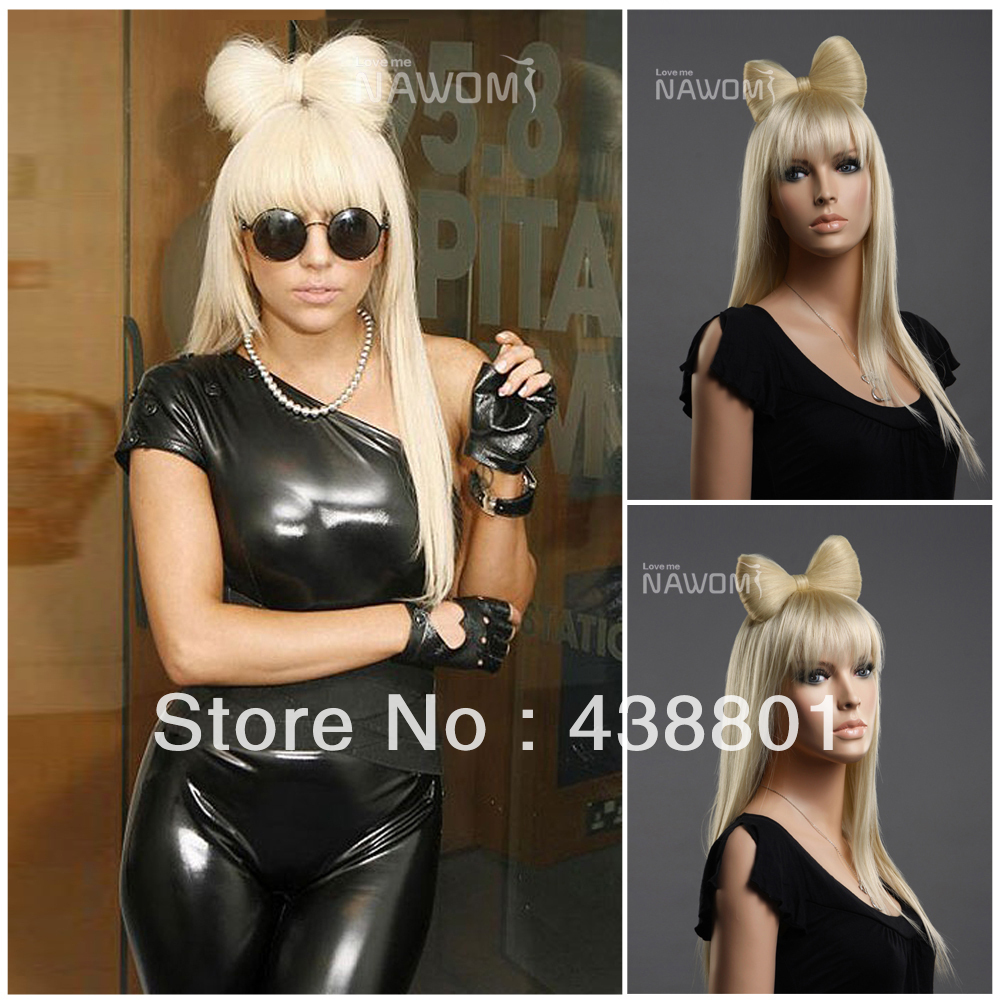 free shipping long straight 23'' Natural Blonde lady gaga bow wigs for sale w3590 cosplay party(China (Mainland))
