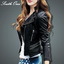 Leather jacket women 2016 new fashion leather coat women short slim motorcycle mandarin collar womens jackets(China (Mainland))