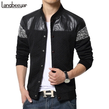 2016 New Fashion Brand Jacket Men Trend Patchwork PU Korean Slim Fit Mens Designer Clothes Men Casual Jacket Plus Size 5XL(China (Mainland))