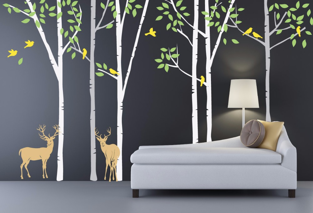 Popular birch tree wallpaper mural buy cheap birch tree for Diy birch tree wall mural