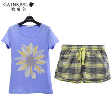 Summer song Riel Asakusa couple short sleeved light blue cotton pajama shorts sweet and lovely home