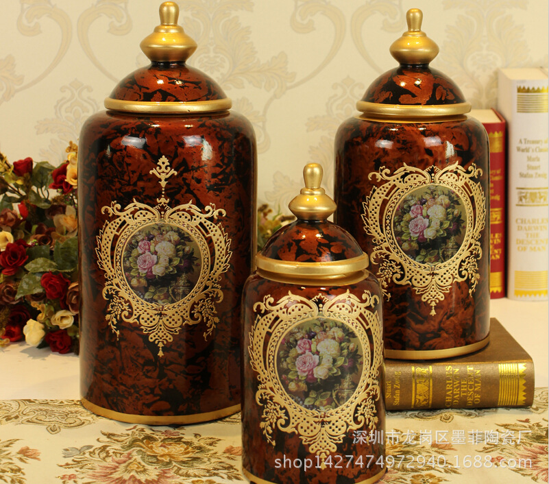 European retro painted ceramic crafts decorations painted three-piece storage tank<br><br>Aliexpress
