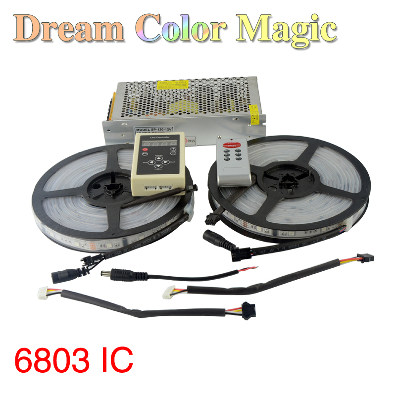 Фотография 10M dream color magic 6803 IC 5050 rgb 30leds/m waterproof led strip light + DC 12V 10A transformer + RF remote controller RS25