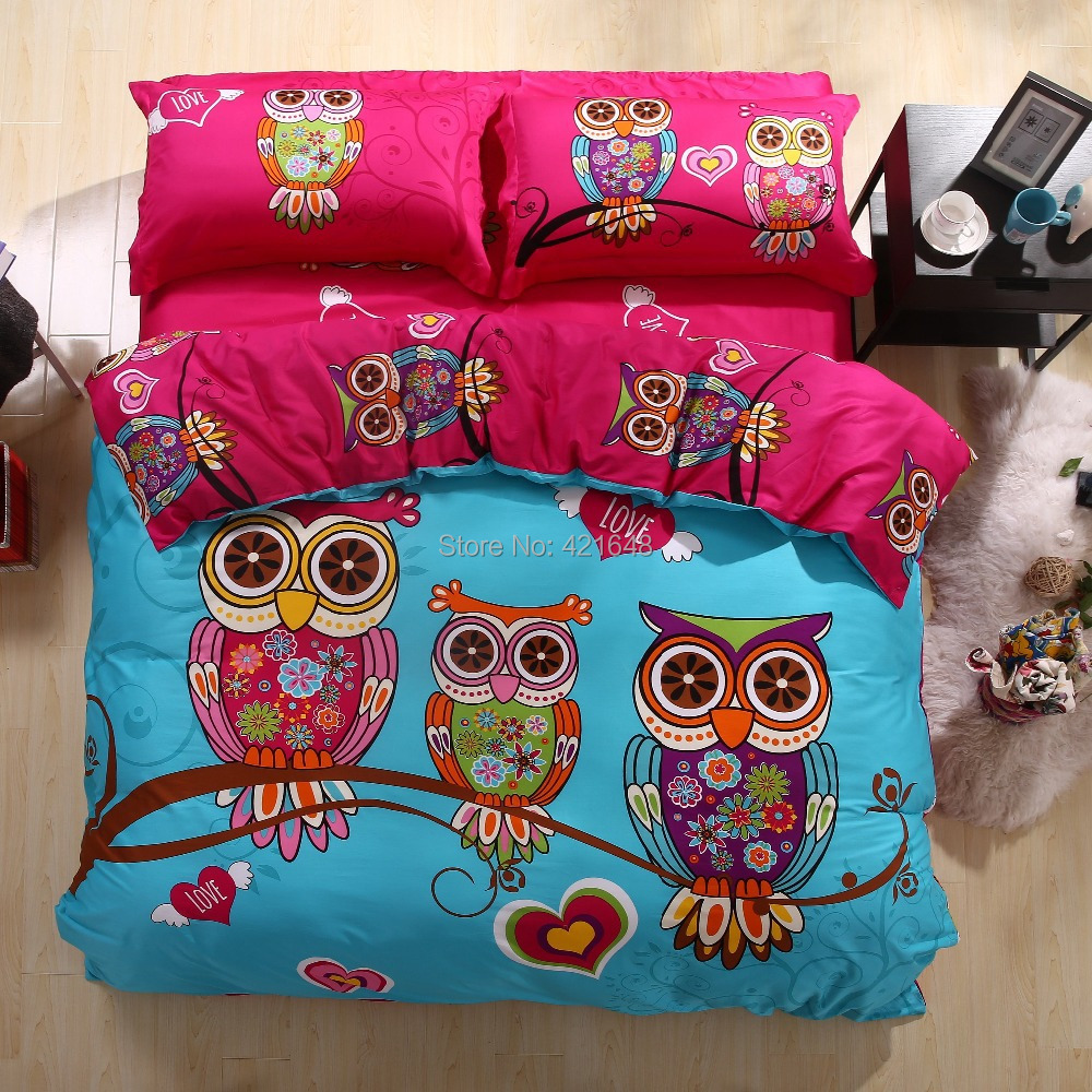 Hot!Free shipping new Listing cartoon duvet cover comforter sets owl/giraffe/leopard/frog bedding set twin/full/queen/king size(China (Mainland))