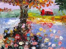 Abstract Living Room Background High Quality Decoration Hand Painted On Canvas Oil Painting Autumn Water One Of A Kind(China (Mainland))