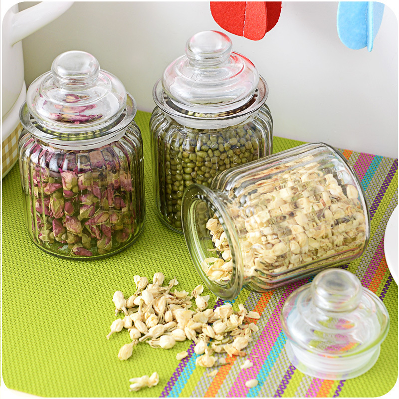 Storage Glass bottles Sealed jar Honey bottles Miscellaneous grains Canister Tea caddy Bottle with lid(China (Mainland))