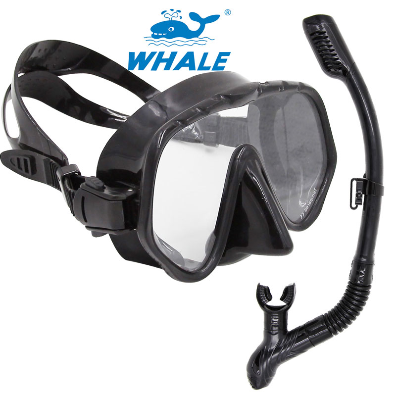 Whale Brand Professional snorkel and mask Swimming Diving regulator Protective Breathing Tube Snorkeling goggles scuba mask Set(China (Mainland))