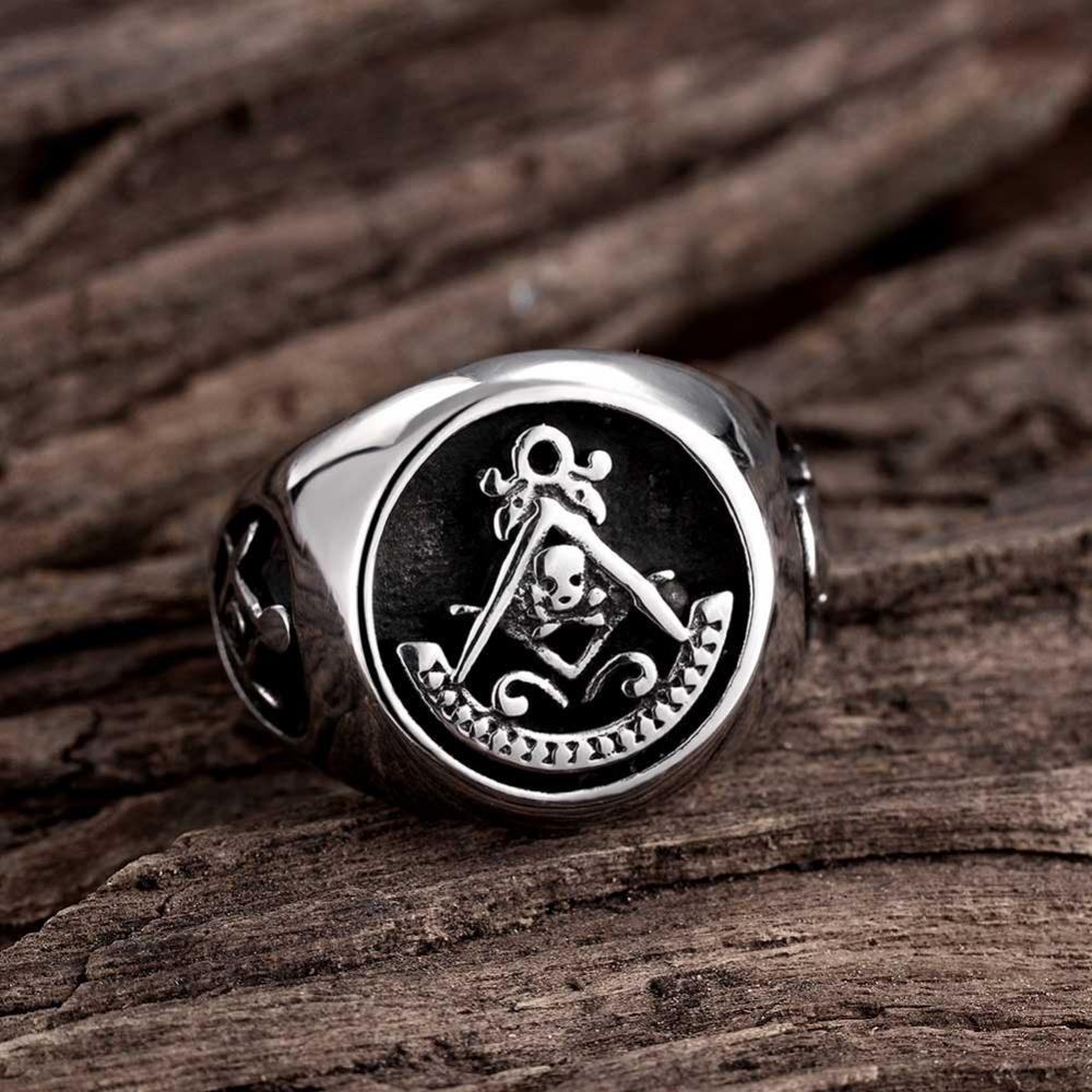 Cool Mens Silver Gold Free Mason Freemasonry Masonic Ring 316L Stainless Steel Band Skull Ring(China (Mainland))