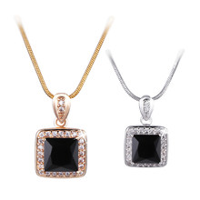 MOLIAM Brand New Necklaces Pendants 18K Gold White Gold Plated Trendy Square Crystal Chain Pendant Neck