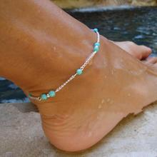 2015 Hot Sale Women Silver Plated Ankle Turquoise Beads Silver Chain Foot Jewelry Anklet Bracelet Length 23cm