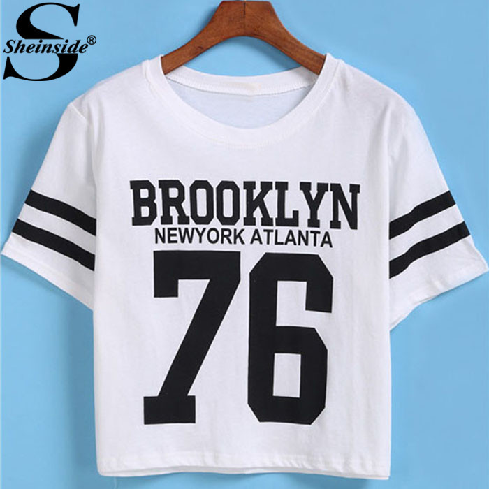 Sheinside Summer Cropped Tops Round Neck Cotton Casual Female White Short Sleeve Letters Print Crop 2015 Simple T-Shirt(China (Mainland))