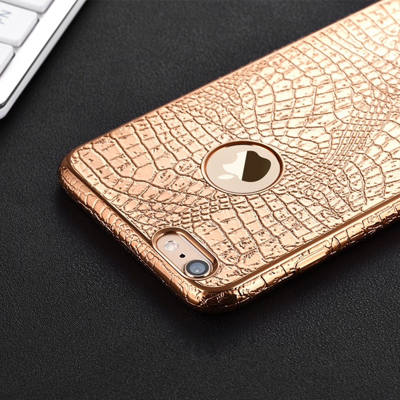 """New Luxury Crocodile Snake Print Plating Case For iPhone 7 6 6s 4.7"""" Plus 5 5S SE Ultra Thin TPU Soft Silicone phone Back Cover(China (Mainland))"""