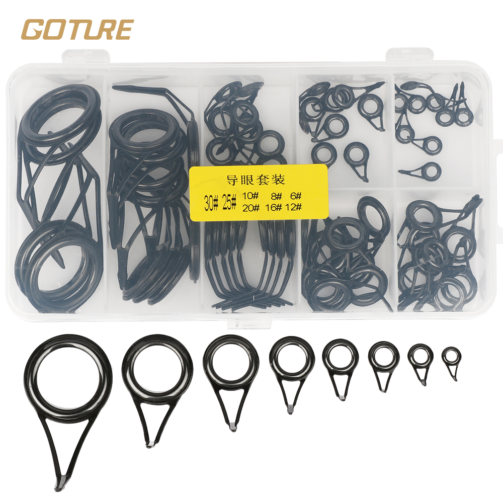 75 PCS / Set Fishing Rod Guide Ring Ceramic Stainless Steel 8 Variety Size Ul Spinning Rod Accessories(China (Mainland))