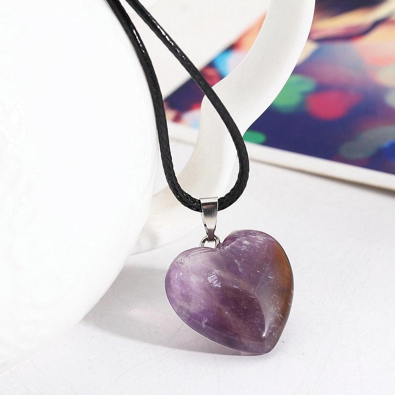 amethyst quartz tiger eye natural stone heart pendants