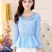 Camisa Feminina 2015 New Autumn Women tops Slim Hollow Lace Blouse Full-Sleeved Ruffles Patchwork Elegant Blouses Shirt Blusas(China (Mainland))