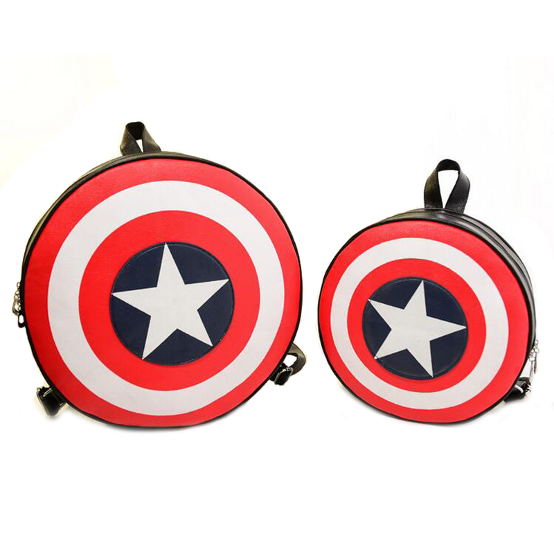 Fashion Capatain America Shield Printing Backpack Womens Leather Backpack Cute Cartoon Specially Double Shoulder Bag XA305H<br><br>Aliexpress