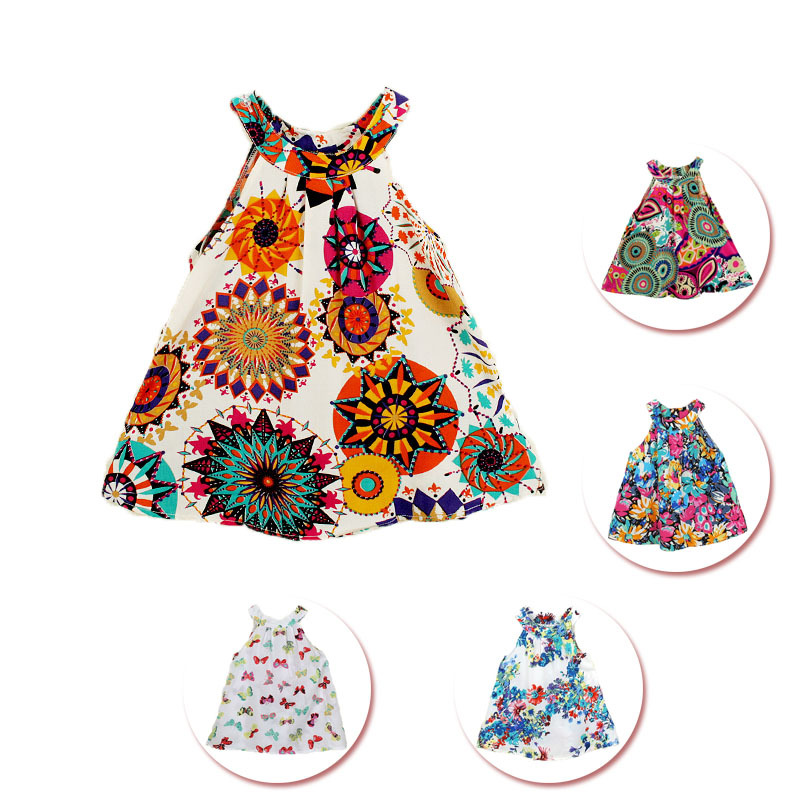 Girl Dress 2-8 Years Baby Girl 18 Pattens Summer Style Flral Print Cotton Casual Party Dress Kid Girls Clothes Vestidos Infantis(China (Mainland))