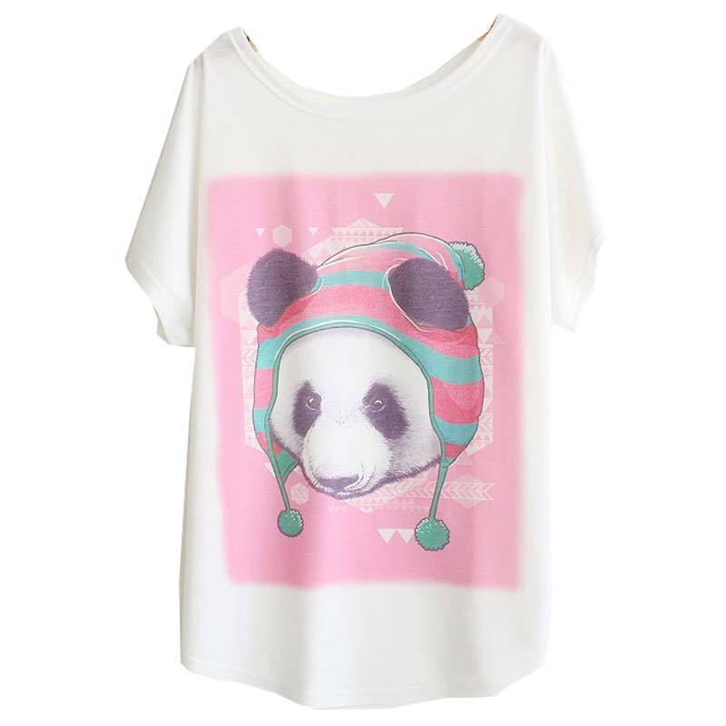 [Sunny] Fashion women's batwing sleeve T-shirt big loose print animals panda dog elephant tshirt plus size T shirt LBZ8(China (Mainland))