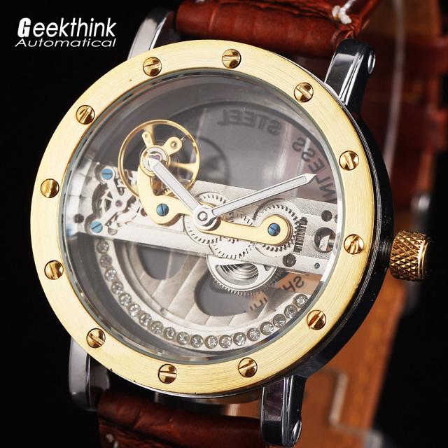 Античная турбийон роскошные мужские автоматические часы прозрачный механическая наручные часы relogios masculino мужской кожаный ремешок новый