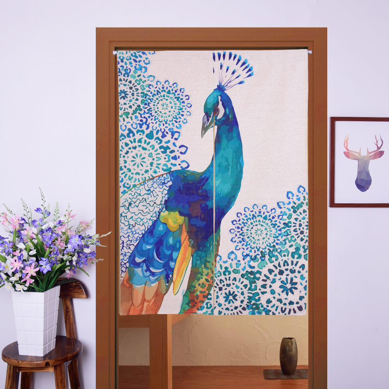 Peacock door curtain 85*90cm, 85*125cm shower door curtain Hallway hangings window curtains Vintage curtain with flexible pole(China (Mainland))