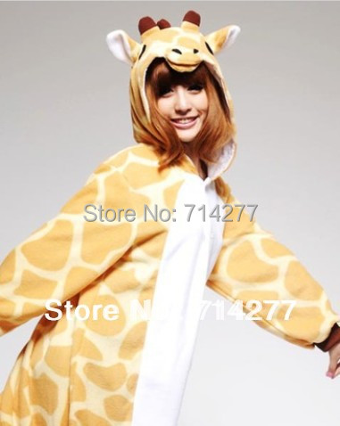 Free Shipping Hot Sale coral velvet 2013 New Fashion S M L XL Adult giraffe Sleepwear Cosplay Costumes Animal Pyjamas(China (Mainland))
