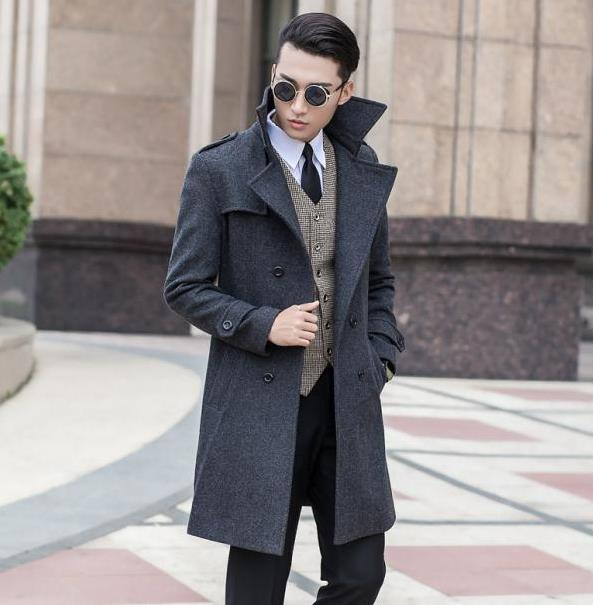 Mens Double Collar Wool Coat Cashmere Promotion-Shop for ...