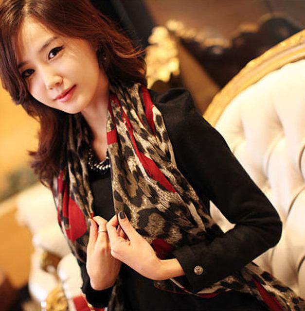 1 шт. горячая распродажа мода женщин леопард стильный длинный мягкий шелк шифон шали обруча шарфы