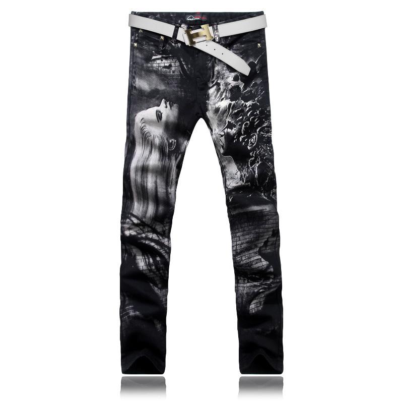 Скидки на MOGE мужские печатных джинсы мода stretch жан тонкий мужчины хип-хоп джинсы брюки вакеро rasgados панталоне hombre hommes