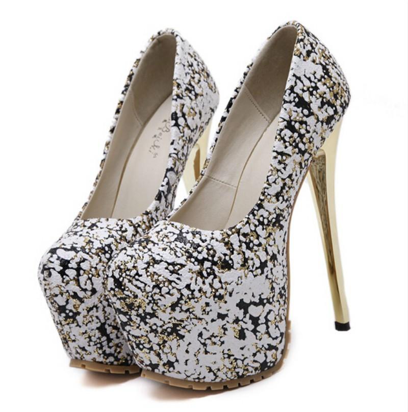 ซื้อ 16เซนติเมตรสูงด้วยดีกับรองเท้าเซ็กซี่ใหม่ประดับด้วยเลื่อมรองเท้าแคทวอล์กันน้ำไนท์คลับส้น