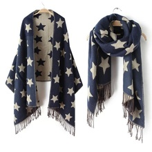 2017 New Designer Scarf 200*65cm Wool Winter Scarf Women Scarves Five-Pointed Star Blanket Long Cashmere Scarf shawls For moman(China (Mainland))