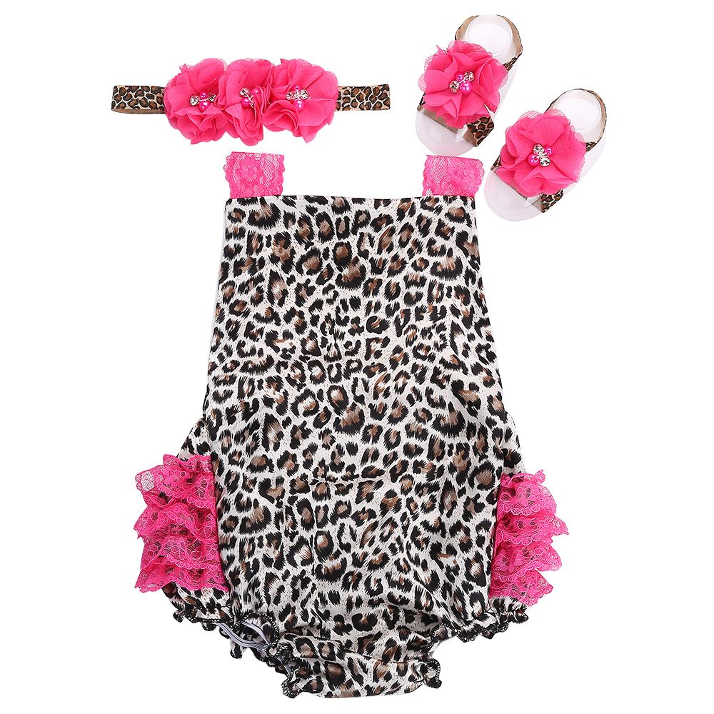 2016 new newborn leopard baby clothes,Lace Baby swimsuit girls hair accessories props set,kid vestidos infantiles romper(China (Mainland))