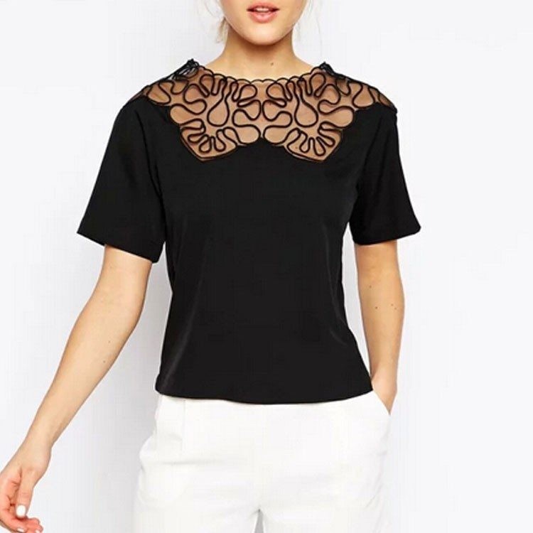 Stylish Ladies Summer Style Women Round Neck Net Yarn Patchwork Casual Tops White Black Blouse S M L 34(China (Mainland))