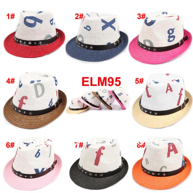 10 шт. / много ( 8 цветов ) принт мальчики-младенцы девочка солома мягкая фетровая шляпа лето шапки дети Sunhat дети верхний шляпы мягкие фетровые шляпы
