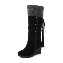 Gdgydh Matorrales Moda Felpa Nieve Botas Cuñas Hasta La Rodilla antideslizante Botas de Algodón acolchado Femeninos Termales zapatos de Invierno Cálido(China (Mainland))