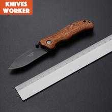 De calidad superior cuchillos de hoja plegable con Wood Camping cuchillo de bolsillo supervivencia de la caza herramientas exterior Multitool Edc