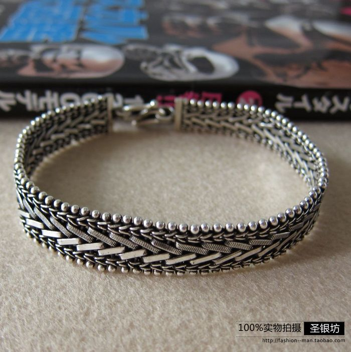 Silver 925 pure silver thai silver vintage male watch chain preparation bracelet retro antique finishing<br><br>Aliexpress