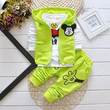 2016 Autumn Baby Girls Boys Cartoon Suits Infant/Newborn Clothes Sets Kids Vest+T Shirt+Pants Children - Madness baby store