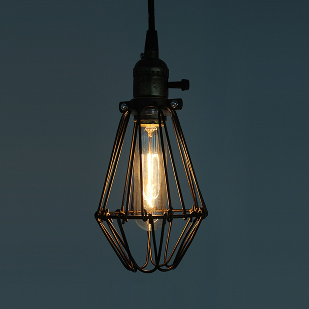 Pendant light metal industrial loft black metal cage for Metal hanging lights